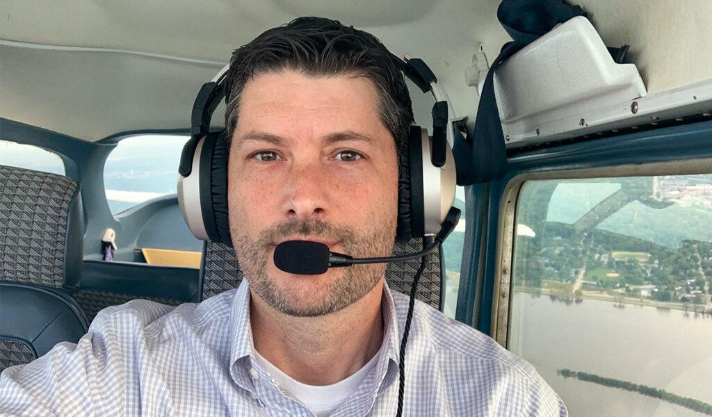 Ben Leischner wearing flight headset