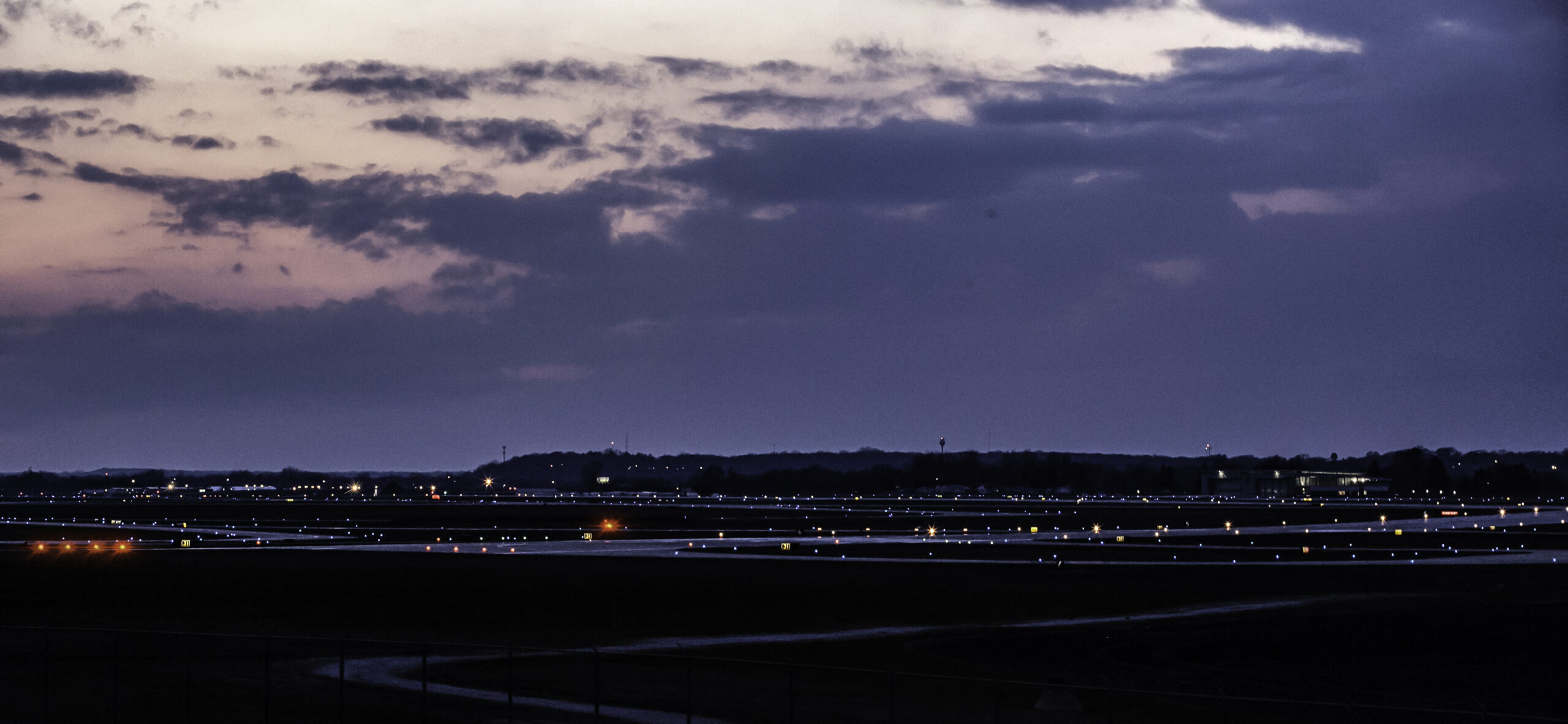 Quad Cities International Airport airfield at night