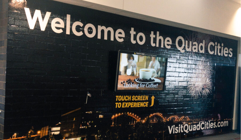 Touch screen at Quad Cities International Airport