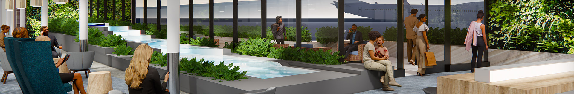 Quad City Airport Render with Water Feature