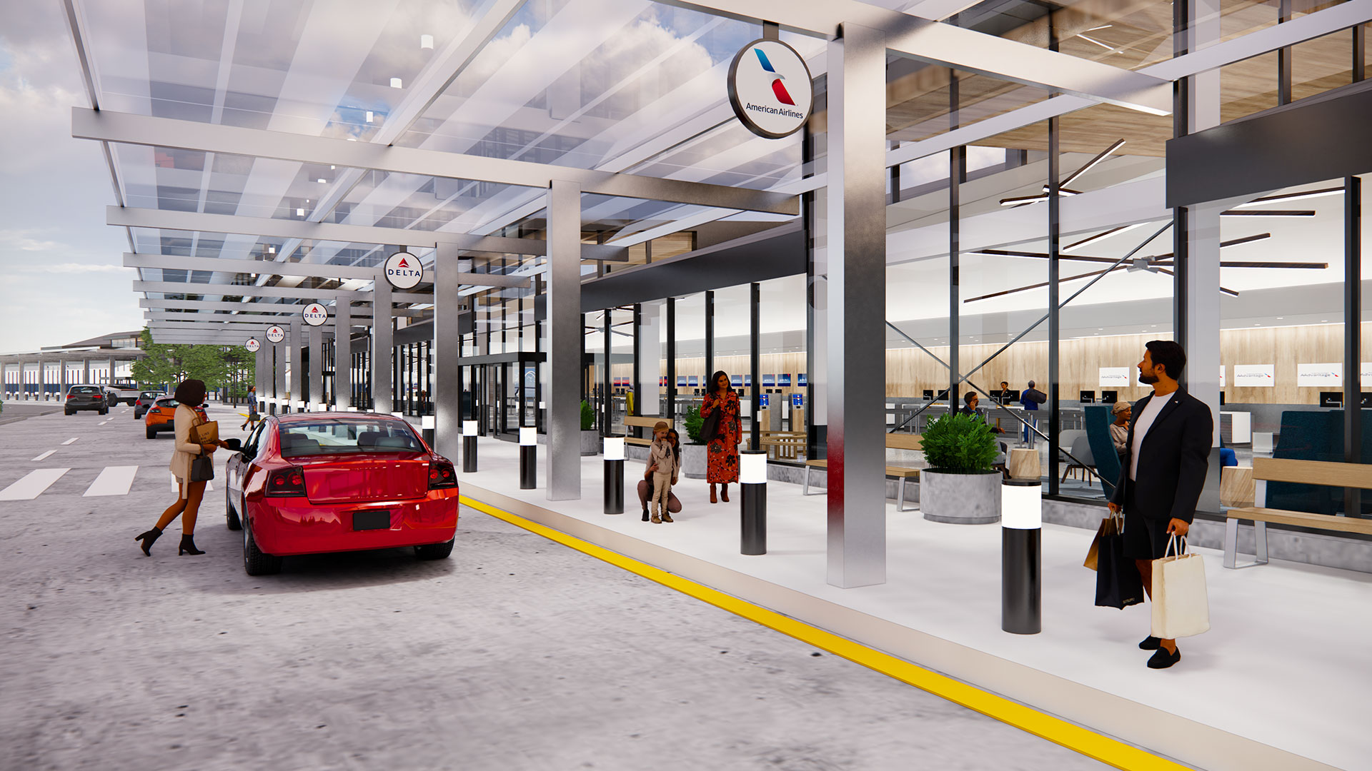 Quad City Airport Entry Rendering with red car