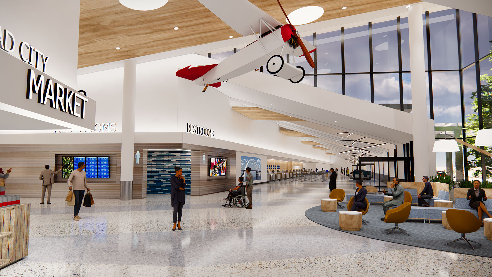 Quad City Airport Rendering with plane