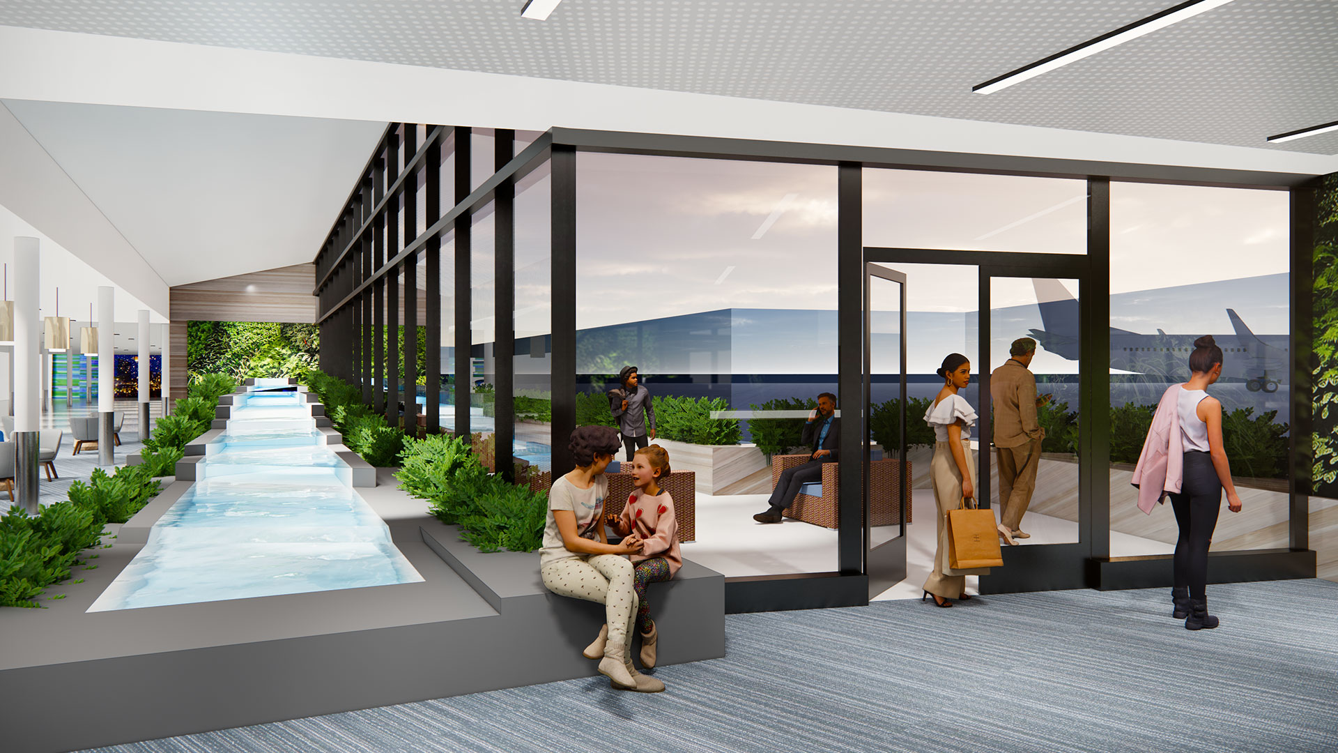Quad City Airport Rendering Water Feature