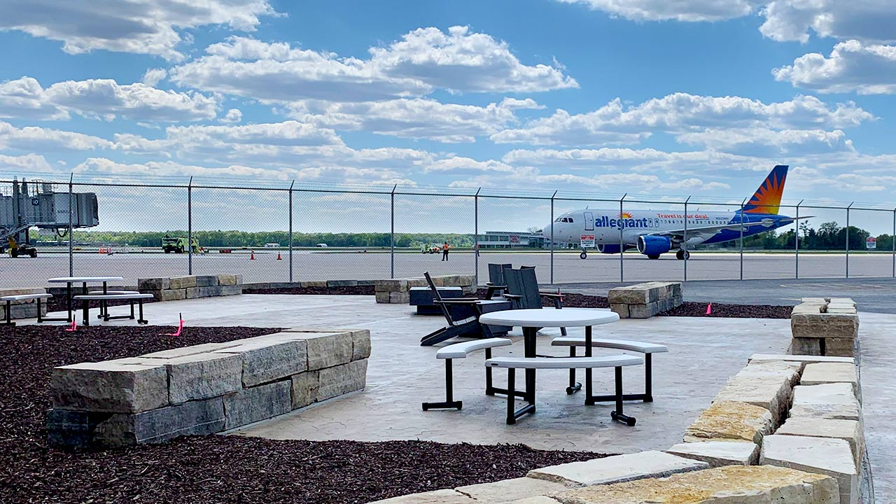 Outside Patio Seating and QC Airport